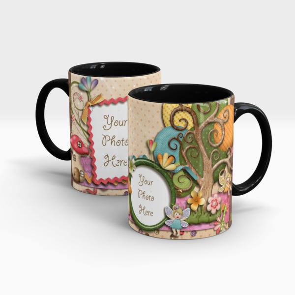 Fairy's Garden Custom Photo Mug for Kids - Black