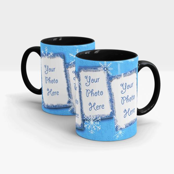 Snowflakes Cool Coffee Mug-Black