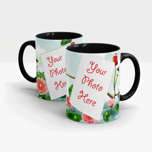 Red Water Lilly Theme Custom Mug-Black