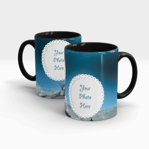 Blue Colored Customized Coffee Mug - Black