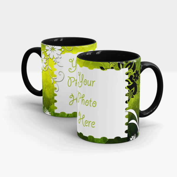 Elegant Green Custom Mug-Black