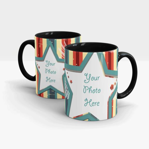 "Custom Printed Mug Themed ""You Are the Star""-Black"