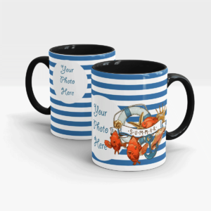 BLUE STRIPES SUMMER CUSTOM GIFT MUG-Black