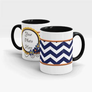 Horizontal Blue Stripes Custom printed Gift Mug-Black