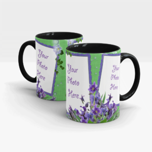Purple flower Customized Coffee Mug-Black