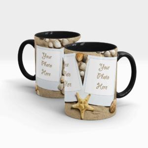 Sand and Sea Shells Personalized Coffee Mug-BlackSand and Sea Shells Personalized Coffee Mug-Black