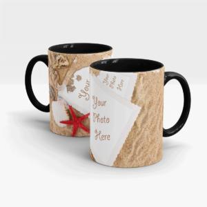 Sand and Sea Shells Personalized Coffee Mug-Black