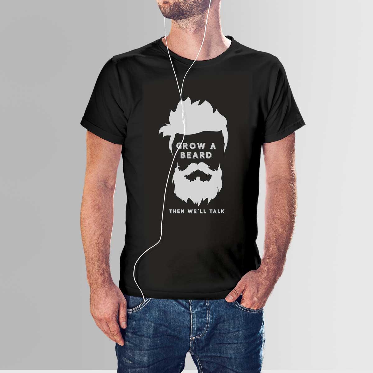 Beard T Shirt High Quality Cotton With Crew Neck Design