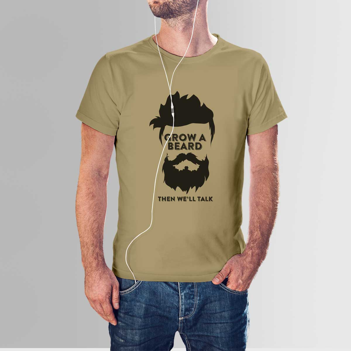 Beard t shirt high quality cotton with crew neck design for High crew neck t shirts