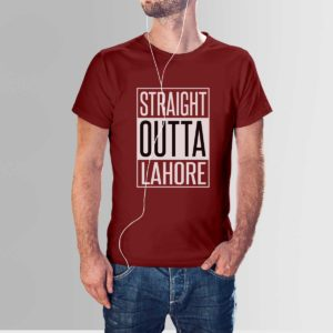 Straight Outta Lahore T Shirt Maroon