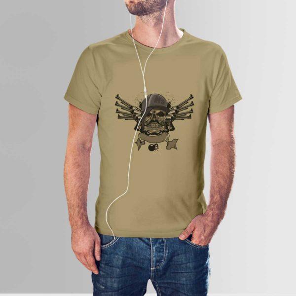 Skull and Guns T Shirt Navy Khaki