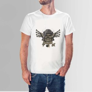 Skull and Guns T Shirt White