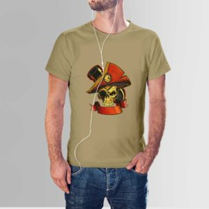 Revolt Skull T Shirt Khaki