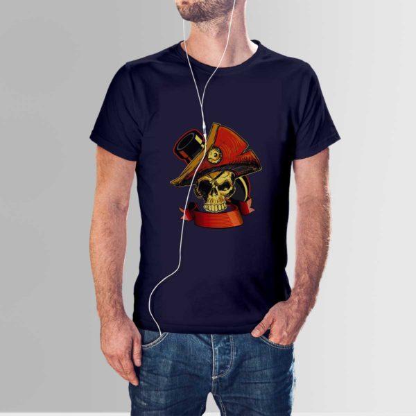 Revolt Skull T Shirt Navy Blue