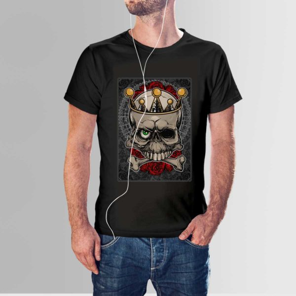 Roses and Skull T Shirt Black