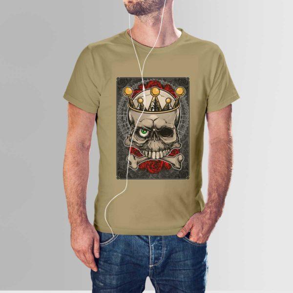 Roses and Skull T Shirt Khaki