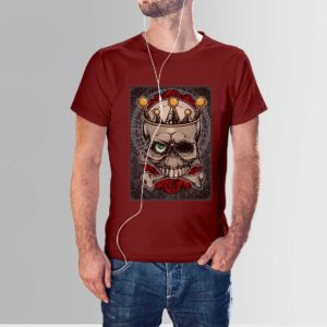 Roses and Skull T Shirt Maroon