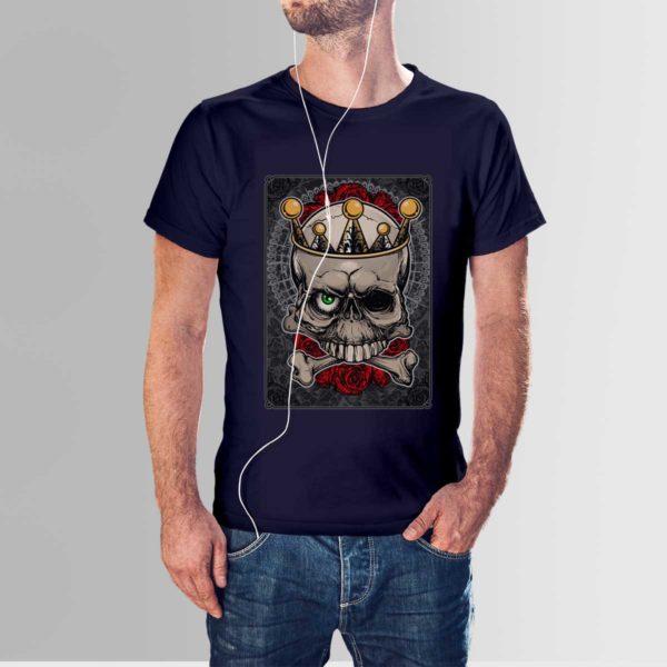 Roses and Skull T Shirt Navy Blue
