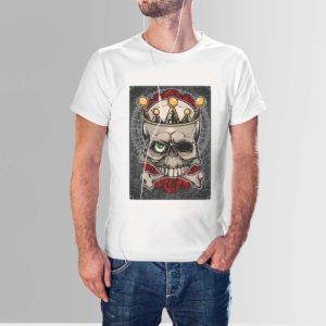 Roses and Skull T Shirt White