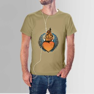 Scared Heart T Shirt Khaki