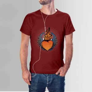 Scared Heart T Shirt Maroon