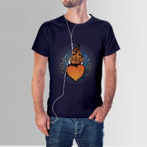 Scared Heart T Shirt Navy Blue