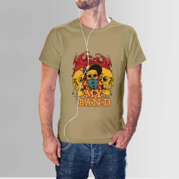 My Band Skull T Shirt Khaki