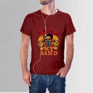 My Band Skull T Shirt Navy Maroon