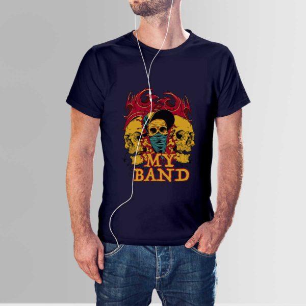 My Band Skull T Shirt Navy Blue