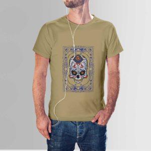 Floral Skull T Shirt Khaki