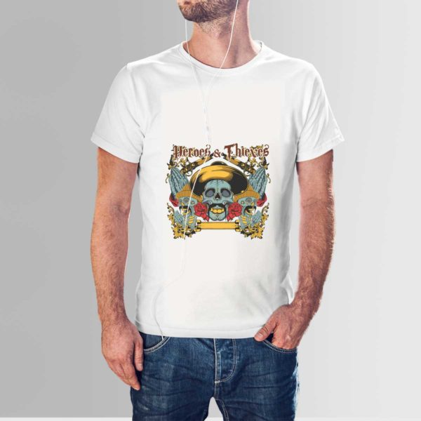 Heroes and Thieves Skull T Shirt White
