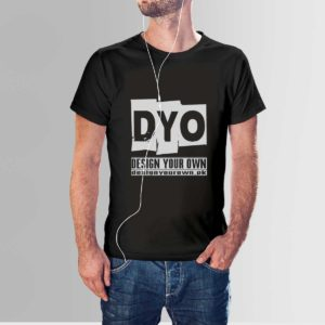 Design Your Own Custom Cotton T Shirt Crew Neck Black