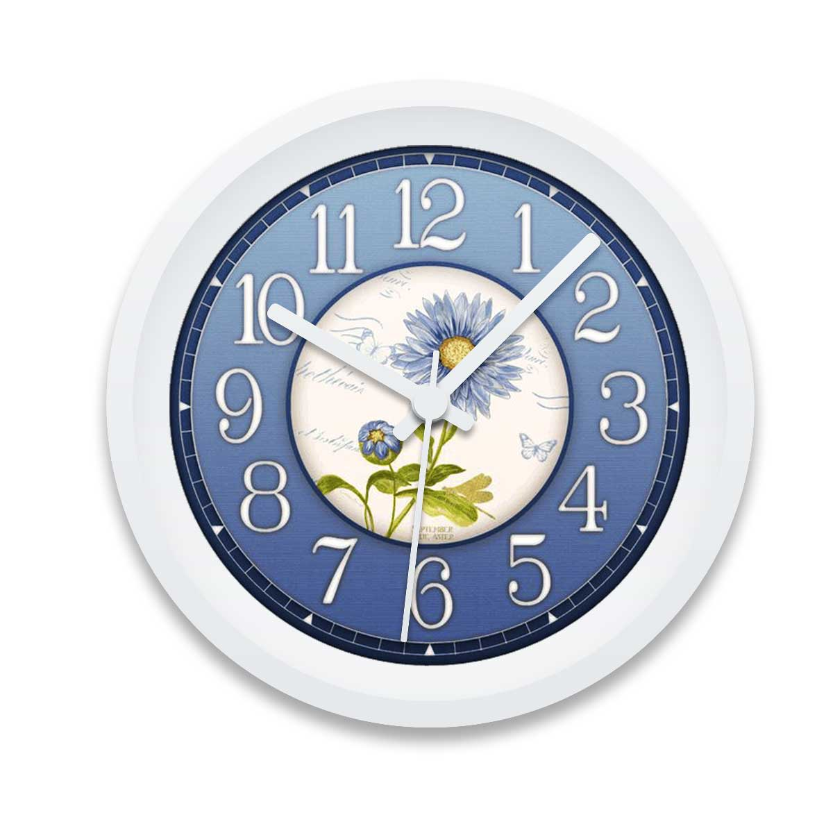 Blue Flowers Custom Printed Wall Clock
