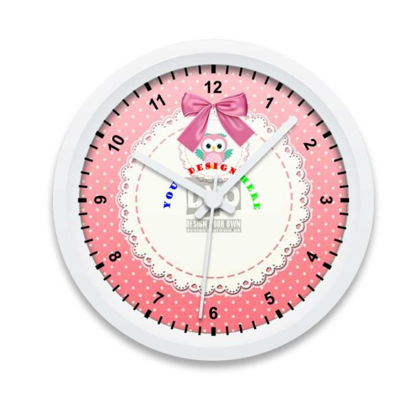 Pink girly owl design your own wall clock gift for girls