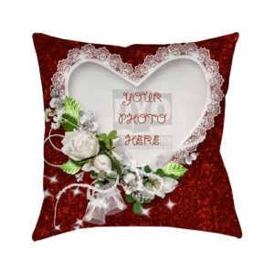 White Roses and Heart Gift Cushion for Valentine