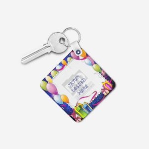 Happy Birthday Gift Personalized Wooden Key Chain (KC-MDF-HBD-04)
