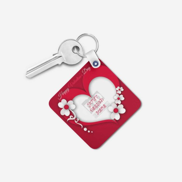 Valentines Day Gift Personalized Wooden Key Chain (KC-MDF-VAL-04)