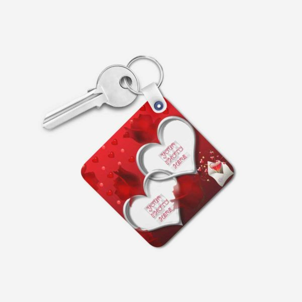 Valentines Day Gift Personalized Wooden Key Chain (KC-MDF-VAL-05)