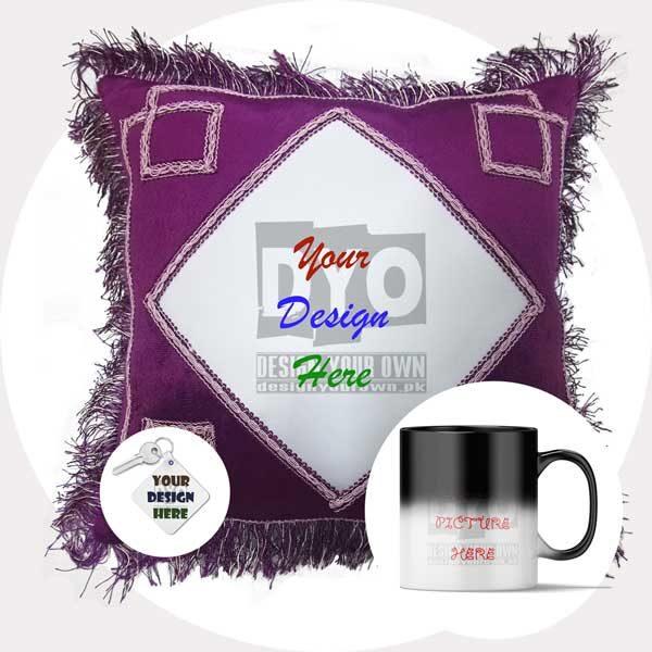 Custom Printed Gift Combo Pack (Cushion + Magic Mug + Key-chain)