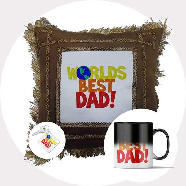 Worlds Best Dad Gift Combo (Cushion + Magic Mug + Key chain)