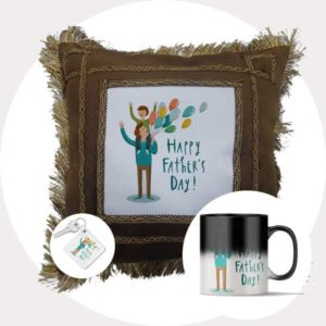 Happy Father's Day Gift Combo (Cushion + Magic Mug + Keychain)