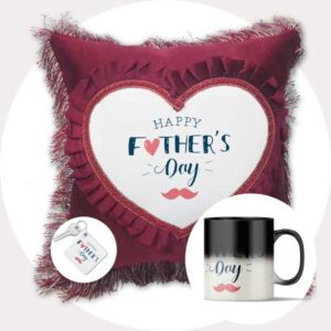 Happy Father's Day Gift Combo Pack (Cushion + Magic Mug + Keychain)