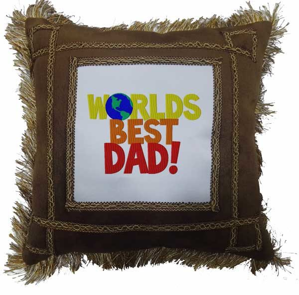 Worlds Best Dad Brown Fancy Gift Cushion