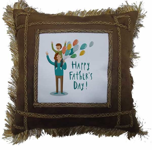 Happy Father's Day Fancy Brown Gift Cushion