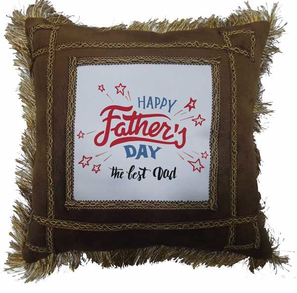 The Best Dad - Father's Day Fancy Brown Gift Cushion