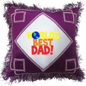 Worlds Best Dad Fancy Brown Gift Cushion