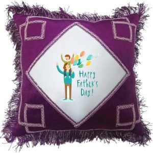 Happy Father's Day Fancy Maroon Gift Cushion