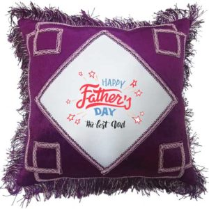 The Best Dad - Father's Day Fancy Maroon Gift Cushion