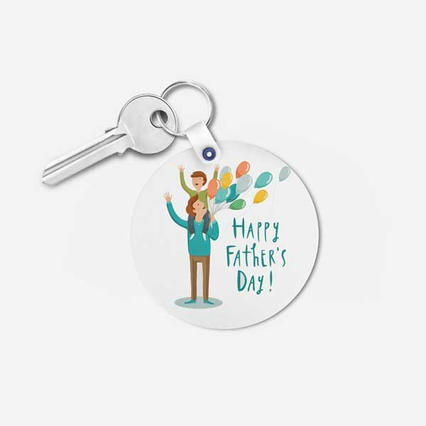 Happy Father's Day Gift Keychain - Round