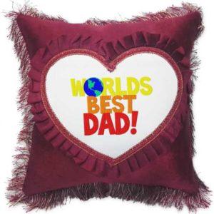Worlds Best Dad Fancy Red Heart Gift Cushion